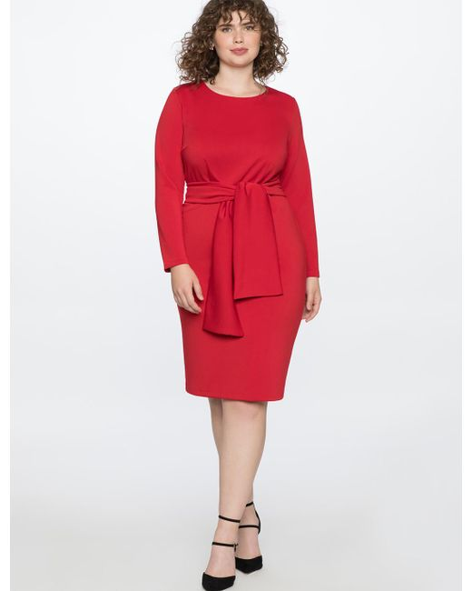 61ec79f4fb8 Eloquii - Red Long Sleeve Scuba Dress With Tie - Lyst ...