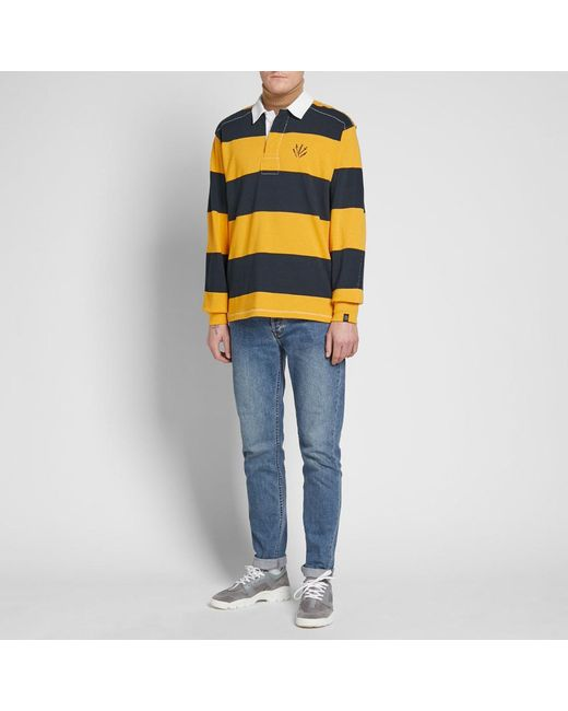 fee175e502 Lyst - Rag   Bone Long Sleeve Striped Rugby Shirt in Yellow for Men ...