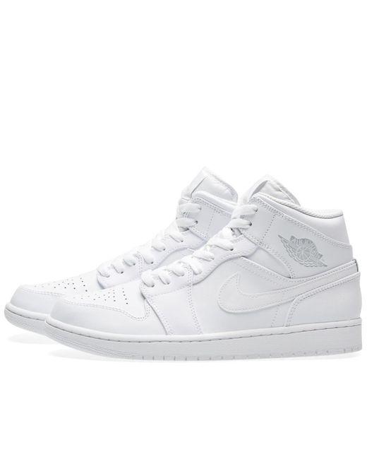 ... Nike   White Nike Air Jordan 1 Mid for Men   Lyst ...