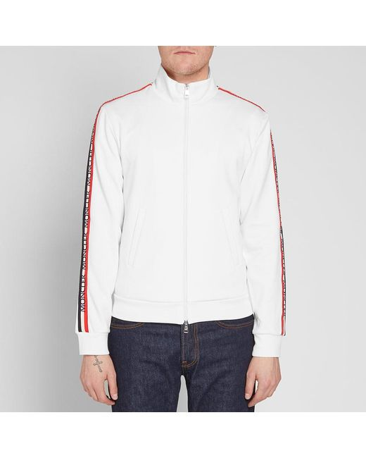 565e49892 Lyst - Moncler Taped Sleeve Zip Track Top in White for Men