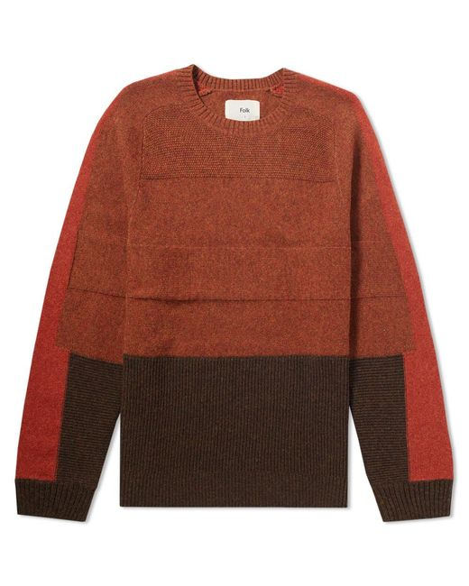 Folk - Orange Panel Texture Crew Knit for Men - Lyst