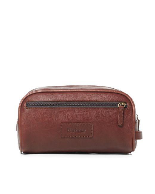 Barbour - Brown Leather Washbag for Men - Lyst