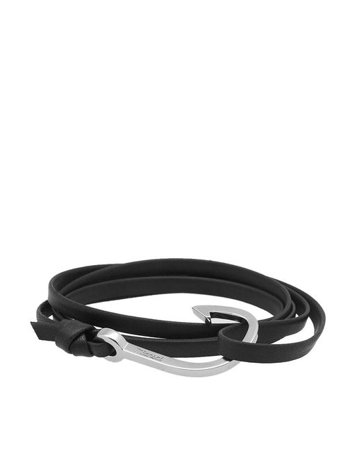 Miansai - Black Silver Hook Leather Bracelet for Men - Lyst