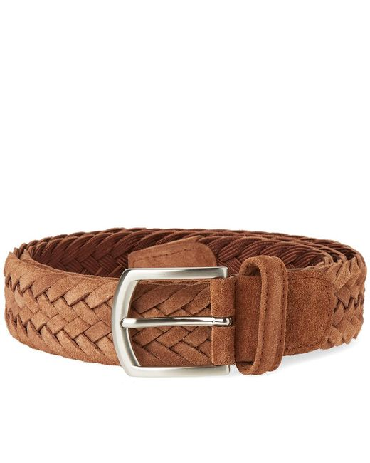 Andersons | Brown Anderson's Woven Suede Belt for Men | Lyst