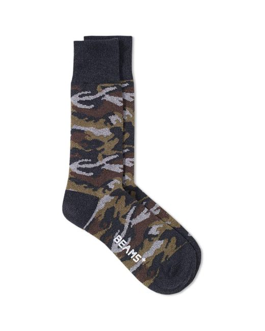Beams Plus - Gray Camo Sock for Men - Lyst