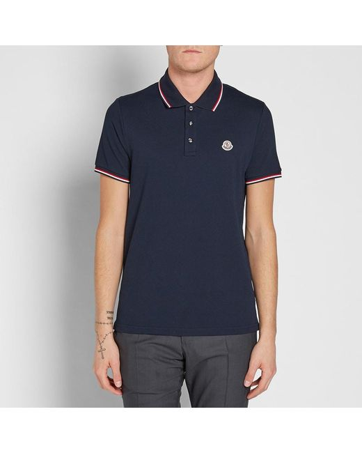 4a09248a11ab Lyst - Moncler Classic Contrast Tipped Polo in Blue for Men
