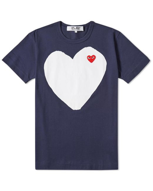 Play Comme des Garçons | Blue Comme Des Garcons Play Solid Heart Logo Tee for Men | Lyst