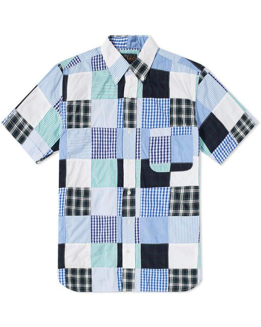 Beams Plus - Blue Short Sleeve Patchwork Shirt for Men - Lyst