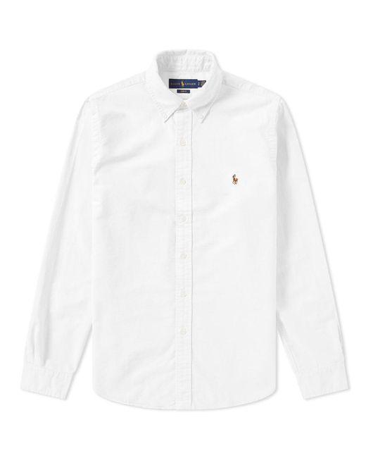 132d4562477 Polo Ralph Lauren - White Slim Fit Button Down Oxford Shirt for Men - Lyst  ...