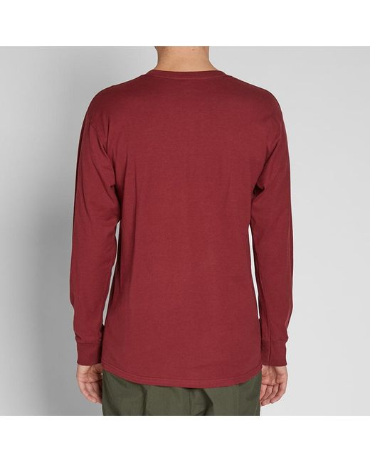 d38f05ac56fa Lyst - Stussy Long Sleeve Smooth Stock Tee in Red for Men - Save 34%