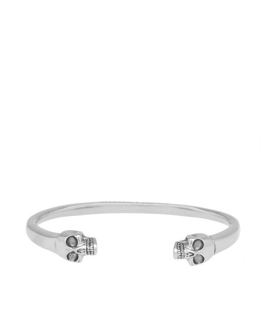 Alexander McQueen - Metallic Heavy Skull Bangle for Men - Lyst