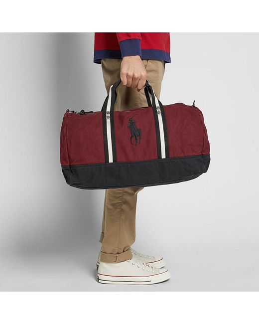 aa5d0c629d ... Polo Ralph Lauren - Red Canvas Polo Player Logo Duffle Bag for Men -  Lyst ...