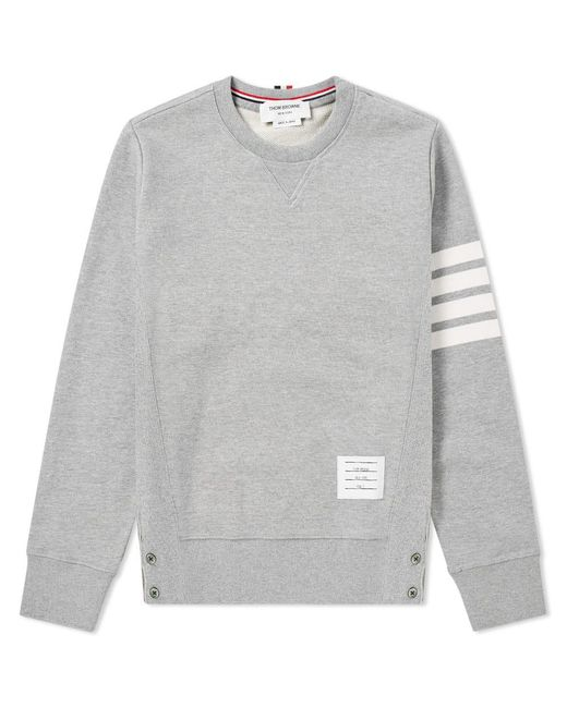 Thom Browne - Gray Intarsia Stripes Distressed Sweatshirt for Men - Lyst