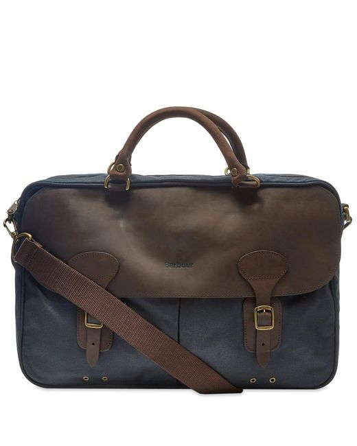 fcf6c8007eec Lyst - Barbour Waxed Canvas Briefcase in Blue for Men - Save 27%