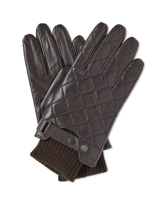 Barbour - Brown Quilted Leather Glove for Men - Lyst