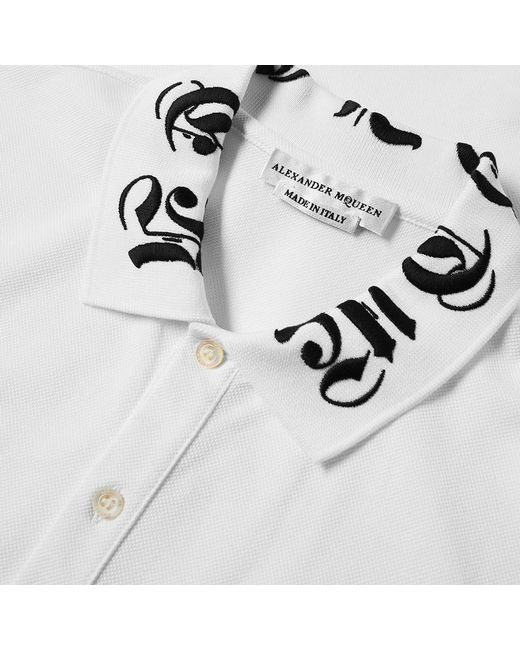 fdae520f ... Alexander McQueen - White Gothic Logo Collar Polo Shirt for Men - Lyst  ...