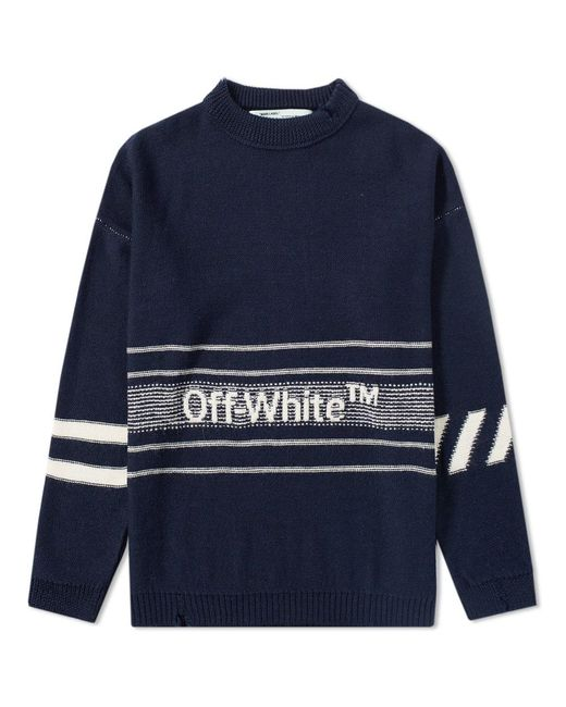 6a98b6fbe118 Lyst - Off-White c o Virgil Abloh Logo Cotton Knit Sweater in Blue ...