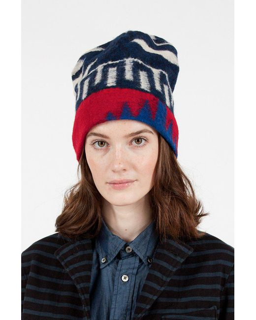 Engineered Garments Redroyal Knit Long Beanie In Blue Lyst
