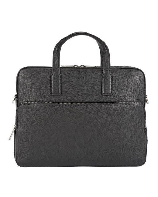 BOSS Black Casual Crosstown Grained Italian Leather Document Bag for men