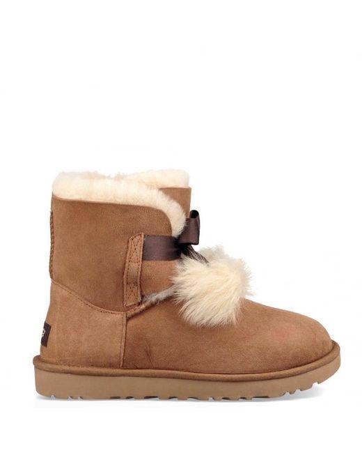 Ugg - Brown Gita Pom Pom Boot - Lyst