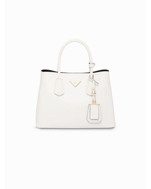 e060c03ca0fd ... Prada - White Double Small Tote Bag - Lyst ...