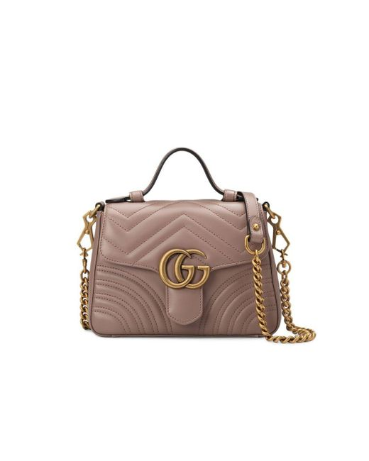 61b0932835a4 Gucci GG Marmont Mini Top Handle Bag in Pink - Save 6% - Lyst