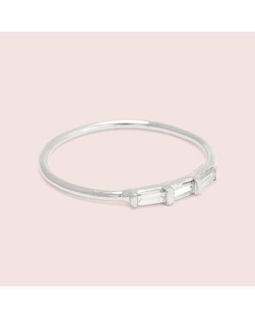 Erica Weiner | Metallic Past/present/future Diamond Baguette Ring (white Gold) | Lyst
