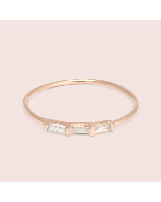Erica Weiner | Metallic Past/present/future Diamond Baguette Ring (rose Gold) | Lyst