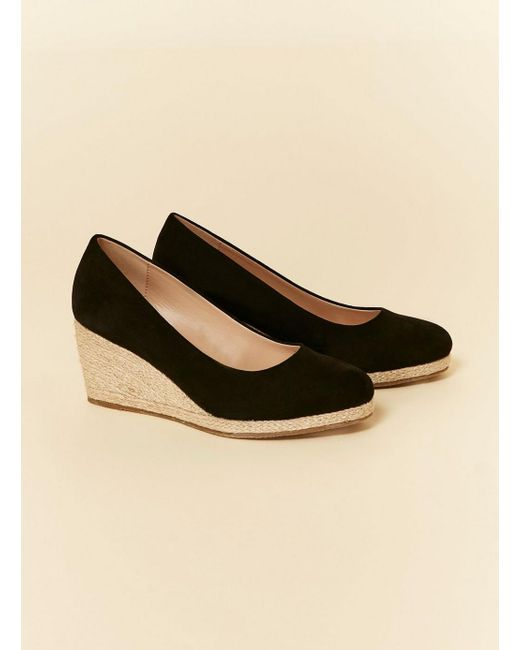 f042b6e2e Evans Extra Wide Fit Black Espadrille Wedges in Black - Save 33% - Lyst