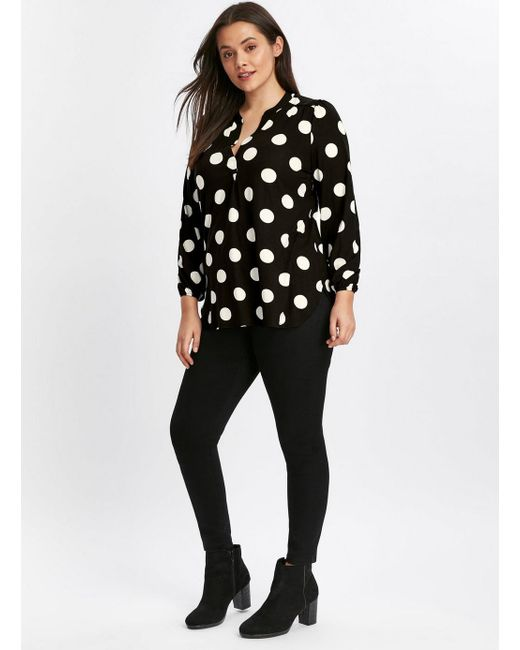 07d67b0c9ed217 ... Evans - Black Spot Print Jersey Shirt - Lyst ...