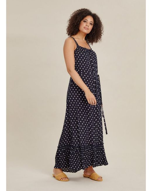 833ad1c1a8 Evans Navy Blue Spotted Maxi Dress in Blue - Save 20% - Lyst