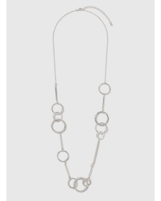Evans - Metallic Silver Link Rope Necklace - Lyst