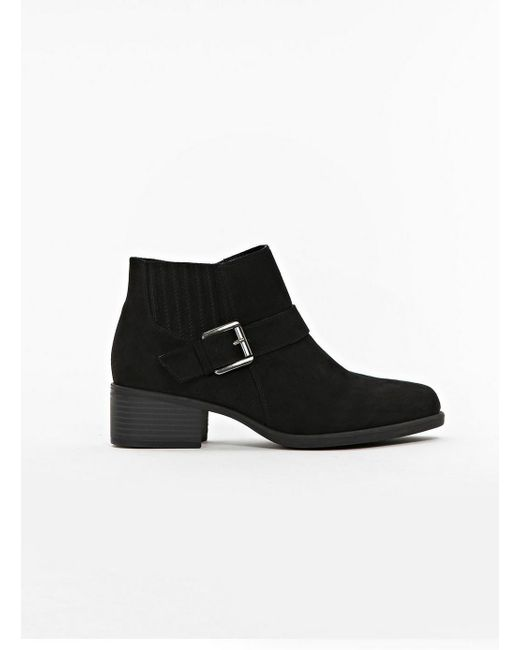 Evans - Extra Wide Fit Black Boots With Elastic Detail - Lyst