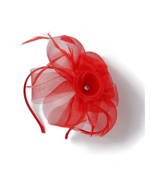 Evans - Black Red Feather Hairband Fascinator - Lyst