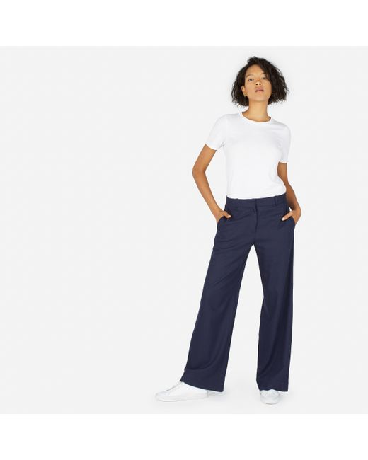 Everlane | Blue The Premium Wool Flannel Full Leg Pant | Lyst