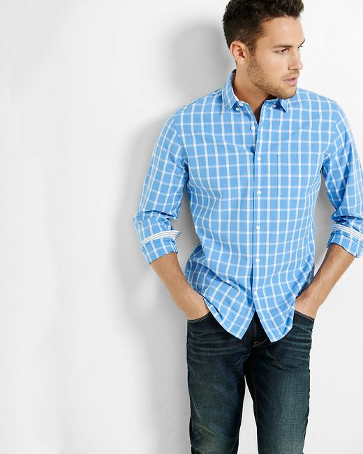 Express | Blue Soft Wash Windowpane Plaid Shirt for Men | Lyst