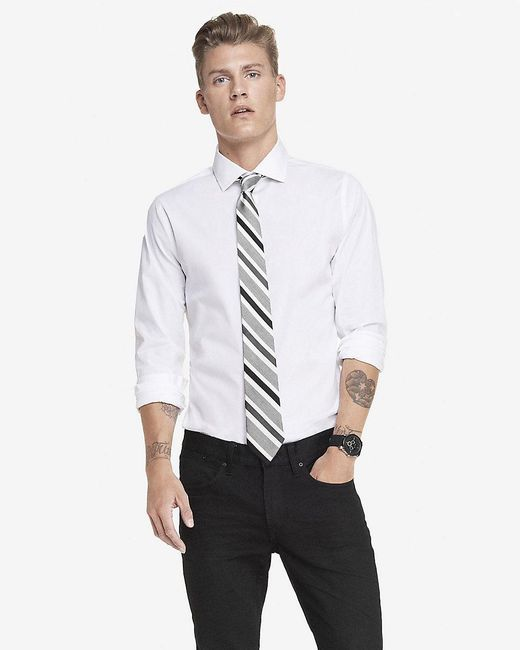Express slim fit spread collar 1mx dress shirt in white for Mens wide collar dress shirts