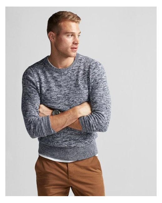 Express - Blue Ig & Tall Marled Crew Neck Sweater for Men - Lyst