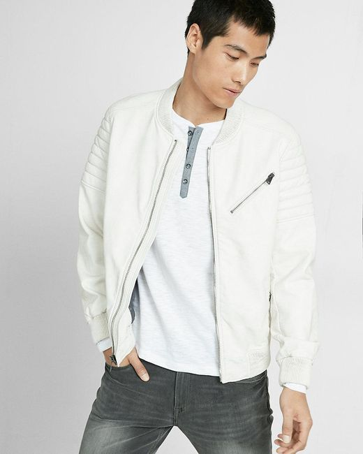 Express Faux Leather Bomber Jacket In White For Men Lyst
