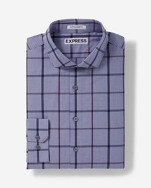 Express Slim Plaid Dress Shirt In Purple For Men Lyst