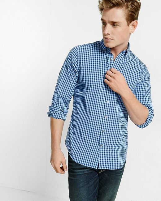 Express | Blue Fitted Tech Easy Care Small Check Shirt for Men | Lyst