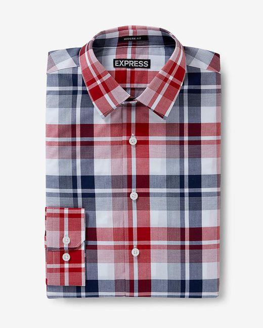 Express | Red Modern Fit Plaid Dress Shirt for Men | Lyst
