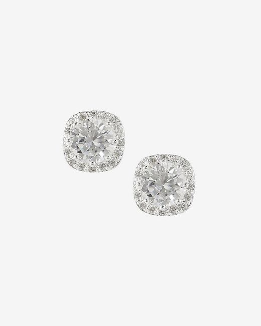 Express | Metallic Rhinestone And Pave Square Stud Earrings | Lyst