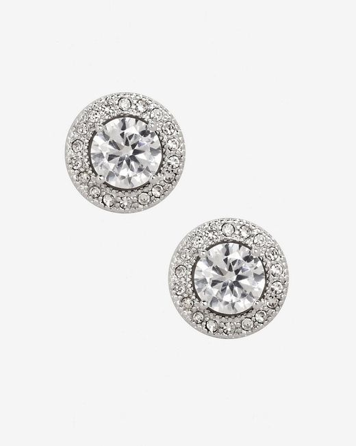 Express | Metallic Cubic Zirconia Pave Halo Stud Earrings | Lyst