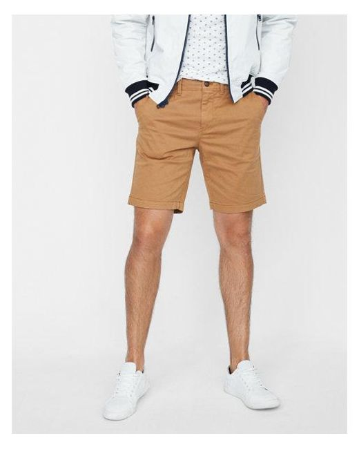 1c5aa55b15 Express - Natural Slim Fit 9 Inch Garment Dyed Flat Front Stretch Shorts  for Men -