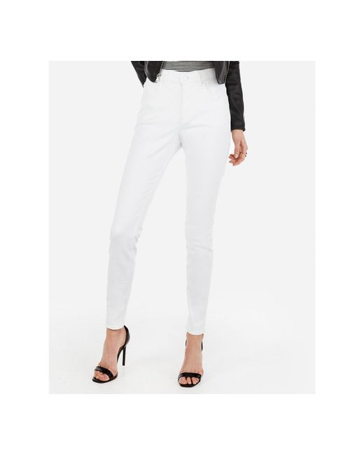 Express - High Waisted Denim Perfect Curves White Jeggings, - Lyst