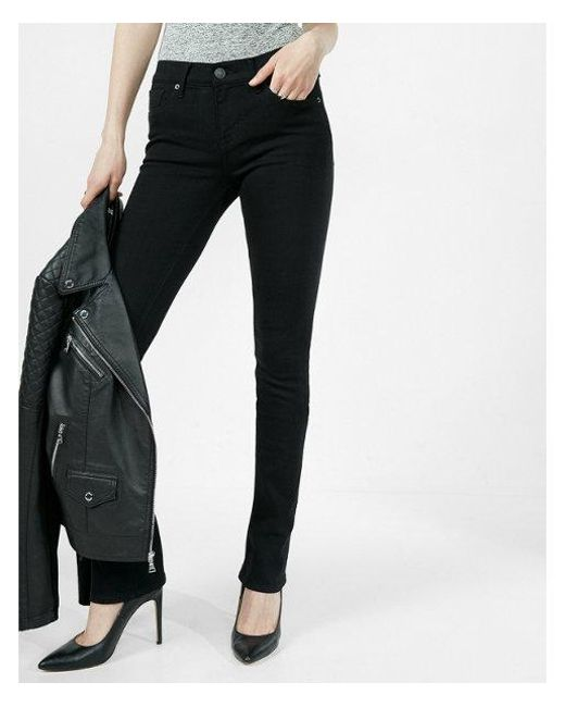 Express - Black Mid Rise Stretch Skyscraper Jeans, Women's Size:16 Short - Lyst