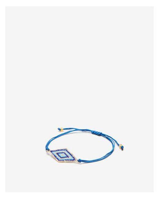 Express - Blue Beaded Pull-cord Bracelet - Lyst