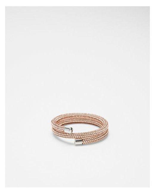 Express - Pink Rhinestone Coil Bracelet - Lyst
