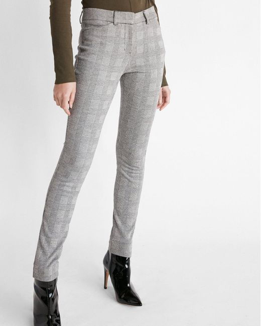 Express - Multicolor Mid Rise Plaid Skinny Pant Black And White - Lyst